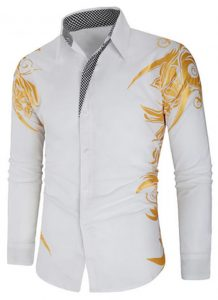 Camisa Masculina Estampada Importada Slim Fit Branca