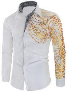 Camisa Importada Masculinas Slim Fit Macho Alfa Branca Estilosa Moda