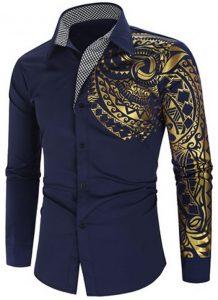 Camisa Importada Masculinas Slim Fit Macho Alfa Azul Marinho Estilosa Moda