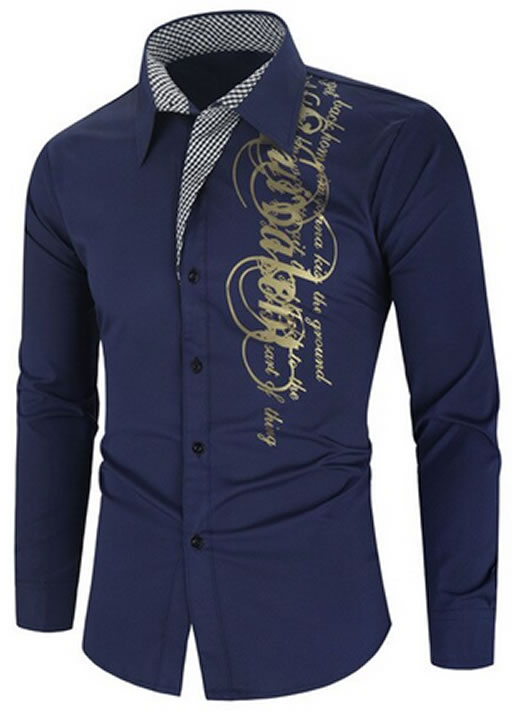 Camisa Importada Masculina Slim Fit Men Alfa Azul Marinho