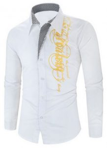 Camisa Importada Masculina Slim Fit Men Alfa Branca