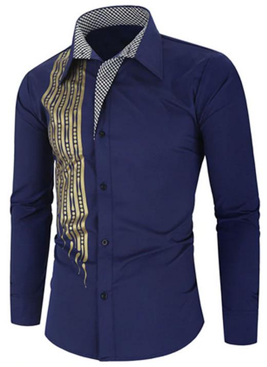 Camisa Importada Masculinas Slim Fit Alfa Men Azul Marinho