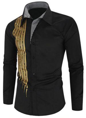 Camisa Importada Masculinas Slim Fit Alfa Men Preta