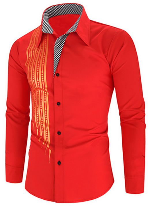 Camisa Importada Masculinas Slim Fit Alfa Men Vermelha