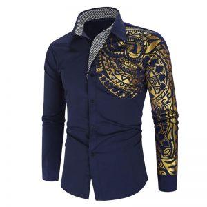 Camisa Importada Masculina Slim Fit Macho Alfa Azul Marinho