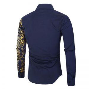 Camisa Importada Masculina Slim Fit Macho Alfa Azul Marinho Costas