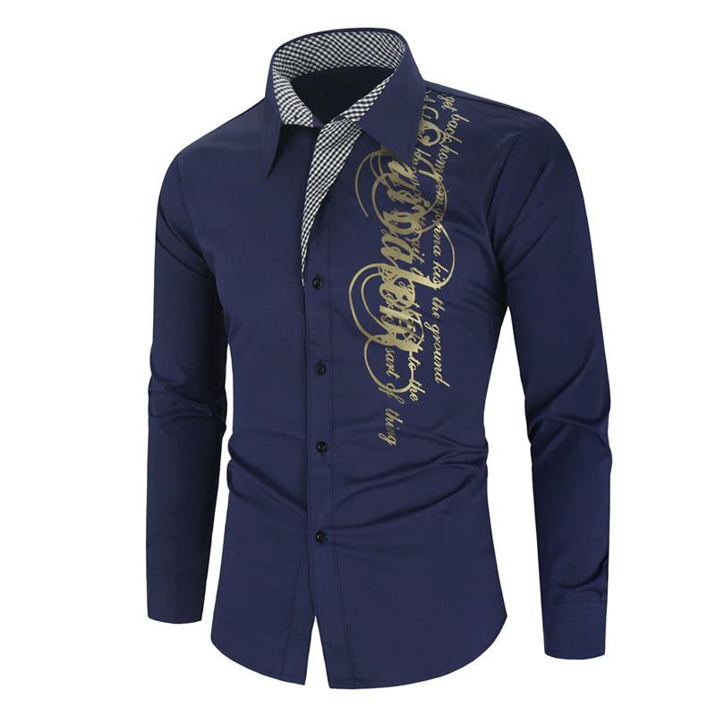 Camisa Importada Masculina Slim Fit Men Alfa Azul Marinho Luxo Luxury Moda Estilosa