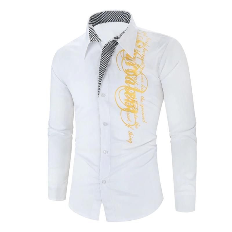 Camisa Importada Masculina Slim Fit Men Alfa Branca Luxo Luxury Moda Estilosa