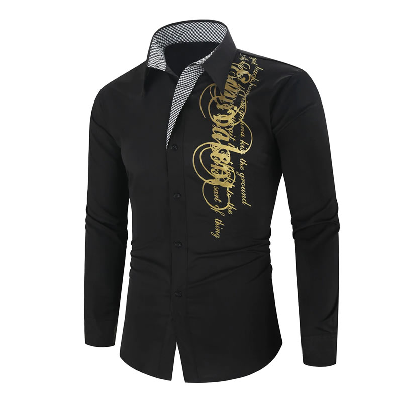 Camisa Importada Masculina Slim Fit Men Alfa Preta Luxo Luxury Moda Estilosa