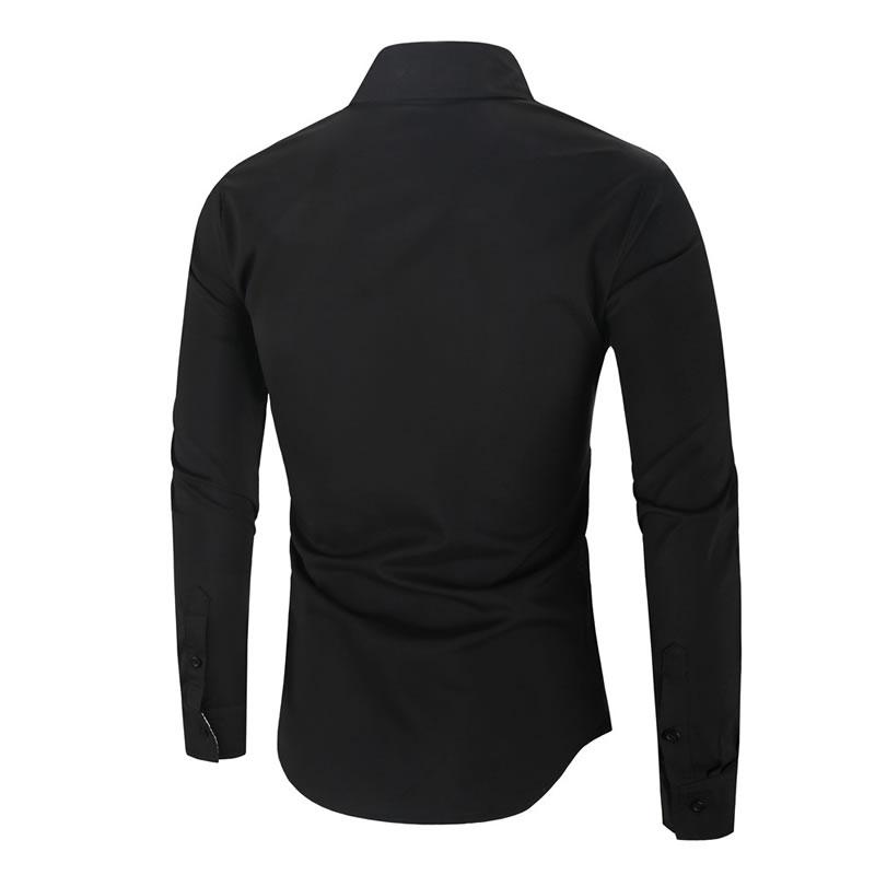 Camisa Importada Masculina Slim Fit Men Alfa Preta Costas Luxo Luxury Moda Estilosa