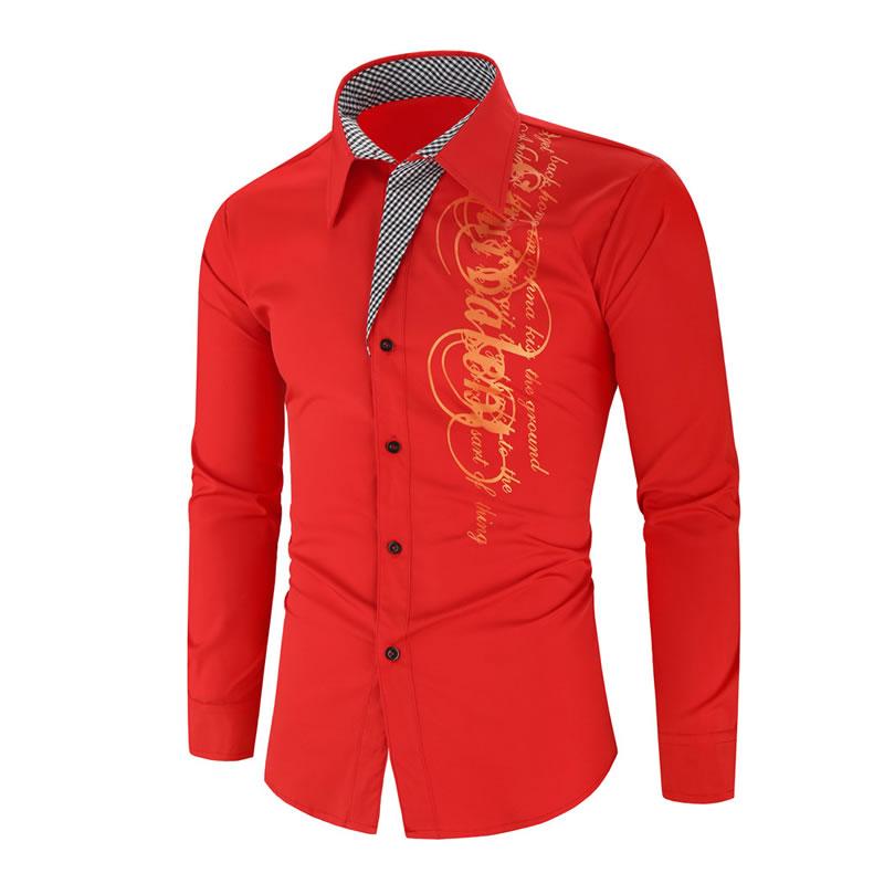 Camisa Importada Masculina Slim Fit Men Alfa Vermelha Luxo Luxury Moda Estilosa