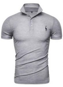 Camisa Slim Fit Polo Giraffe Cinza