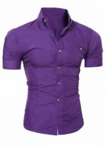 Camisa Slim Fit Manga Curta Roxa