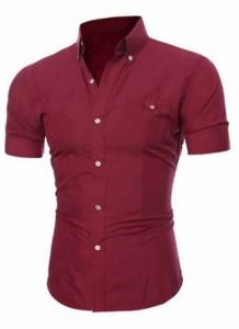 Camisa Slim Fit Manga Curta Vinho Masculina