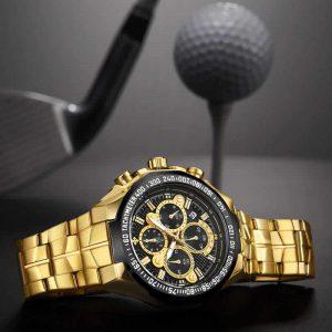 Relógio Masculino Cronógrafo Wwoor Luxo 6668 Dourado