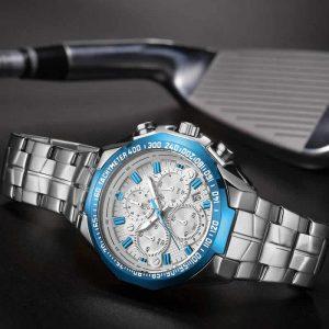 Relógio Masculino Cronógrafo Wwoor Luxo 6668 Azul Luxury