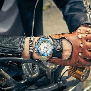 Relógio Masculino Cronógrafo Wwoor Luxo 6668 Azul Moda