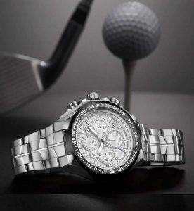 Relógio Masculino Cronógrafo Wwoor Luxo 6668 Prata Luxo