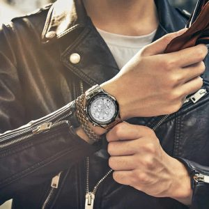 Relógio Masculino Cronógrafo Wwoor Luxo 6668 Prata Luxury