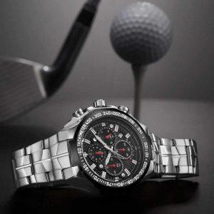 Relógio Masculino Cronógrafo Wwoor Luxo 6668 Prata Preto Luxo