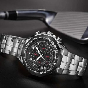 Relógio Masculino Cronógrafo Wwoor Luxo 6668 Prata Preto Luxury