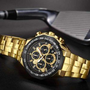 Relógio Masculino Cronógrafo Wwoor Luxo 6668 Dourado Preto