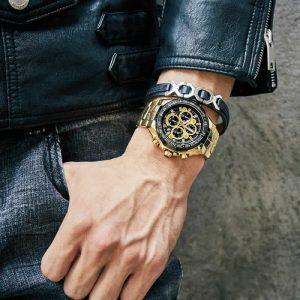 Relógio Masculino Cronógrafo Wwoor Luxo 6668 Dourado Luxo