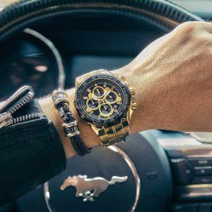 Relógio Masculino Cronógrafo Wwoor Luxo 6668 Dourado Luxury