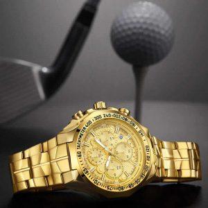 Relógio Masculino Cronógrafo Wwoor Luxo 6668 Dourado Gala