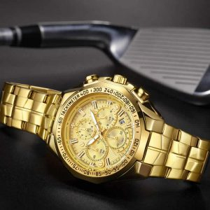 Relógio Masculino Cronógrafo Wwoor Luxo 6668 Dourado Fit