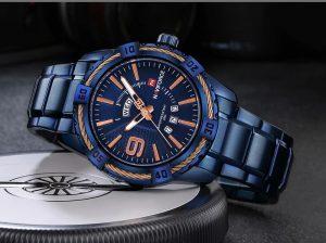 Relógio Masculino Luxo Naviforce Original Aço N9117 Azul