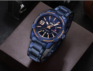 Relógio Masculino Luxo Naviforce Original Aço N9117 Azul Pulso