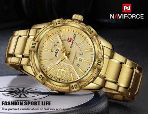 Relógio Masculino Luxo Naviforce Original Aço N9117 Dourado