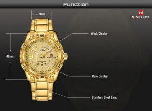 Relógio Masculino Luxo Naviforce Original Aço N9117 Dourado Luxo
