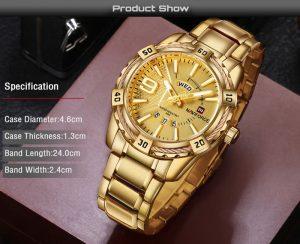 Relógio Masculino Luxo Naviforce Original Aço N9117 Dourado Luxury