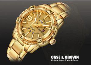 Relógio Masculino Luxo Naviforce Original Aço N9117 Dourado Quartzo