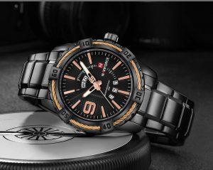 Relógio Masculino Luxo Naviforce Original Aço N9117 Preto Rose