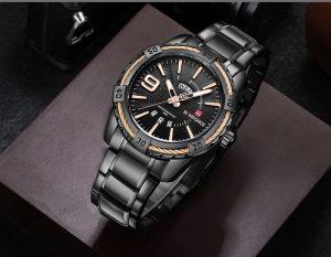 Relógio Masculino Luxo Naviforce Original Aço N9117 Preto Rose Luxo