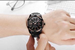 Relógio Masculino Luxo Naviforce Original Aço N9117 Preto Rose Luxury