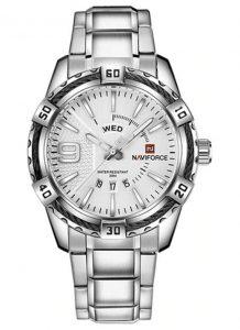 Relógio Masculino Luxo Naviforce Original Aço N9117 Prata