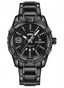 Relógio Masculino Luxo Naviforce Original Aço N9117 Preto