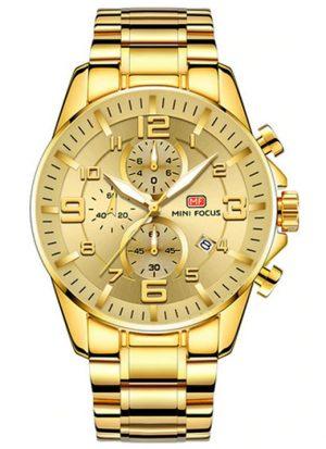 Relógio Dourado Mini Focus Golden Style