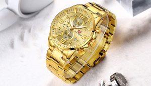 Relógio Mini Focus Golden Style Dourado Luxo