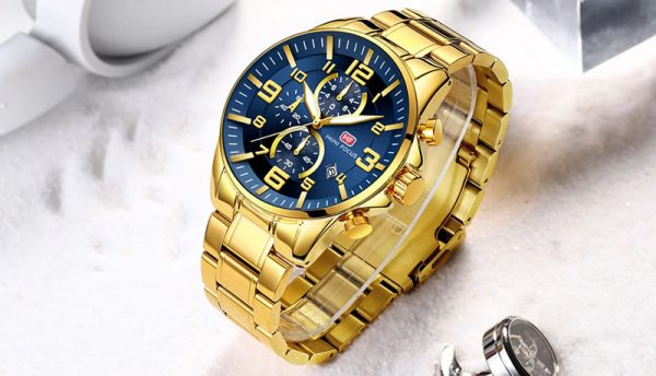 Relógio Mini Focus Golden Style Dourado e Azul Luxo