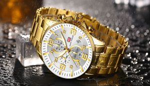 Relógio Mini Focus Golden Style Dourado e Branco Luxo