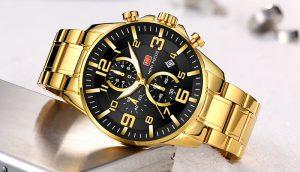 Relógio Mini Focus Golden Style Dourado Luxury