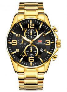 Relógio Dourado e Preto Mini Focus Golden Style
