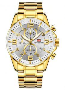 Relógio Dourado e Branco Mini Focus Golden Style