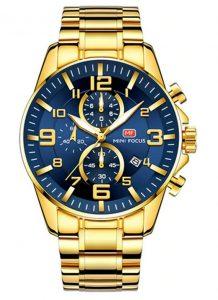 Relógio Dourado e Azul Mini Focus Golden Style