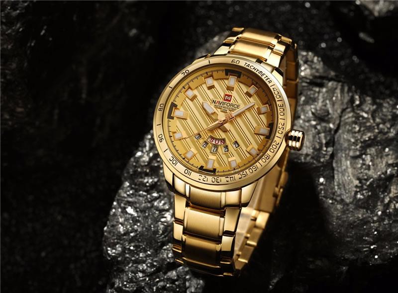 Relógio Masculino NAVIFORCE Dourado 9090 M Original